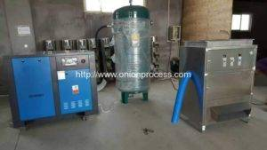 300kgh-onion-peeling-machine-for-malaysia-customer-with-air-compressor-and-storage-tank