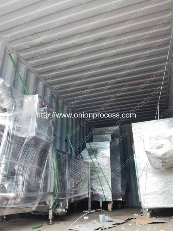 Onion Peeling Cutting Washing Machine Delivery in 20GP container