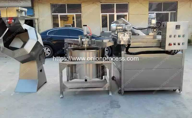 Automatic-Discharge-Type-Onion-Frying-Machine-with-Auto-De-Oiling-Machine