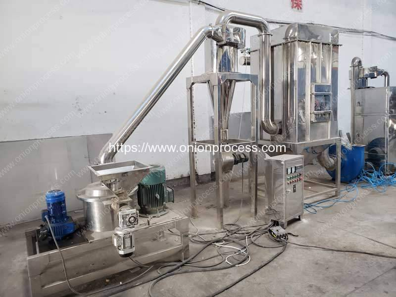 Full-Automatic-Continuous-Working-Onion-Powder-Grinding-Making-Machine-with-Dust-Collector
