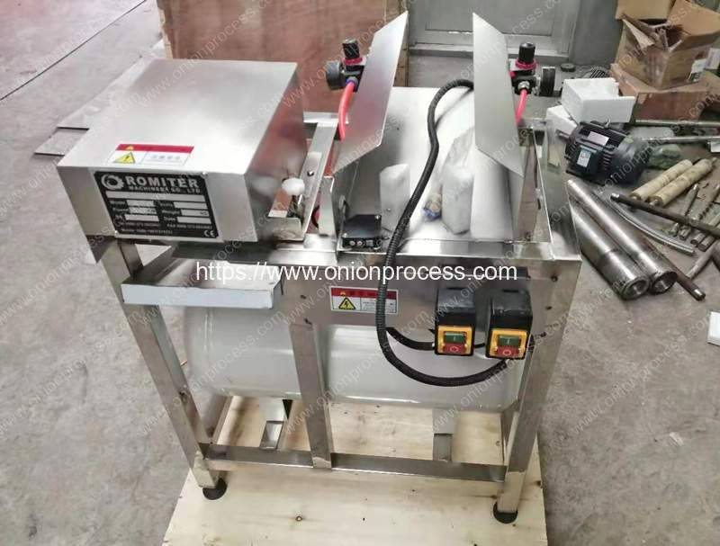 Green-Onion-Spring-Root-Cutting-and-Peeling-Machine-for-France-Customer