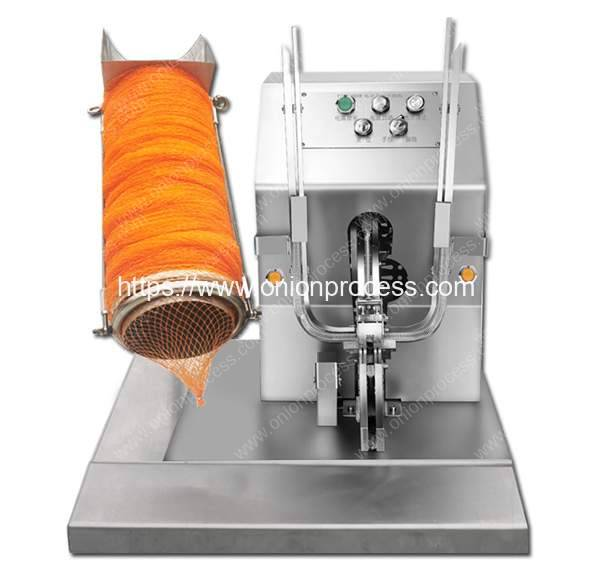 Electric-Type-Onion-Mesh-Bag-Clipping-Machine-with-Mesh-Load-Tube